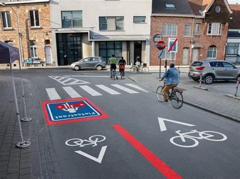 Zone cyclable à Wervik (Belgique)
